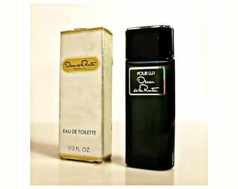 Vintage 1980s Oscar De La Renta Pour Lui 0.3 oz Eau de Toilette Mini Miniature in Box COLOGNE