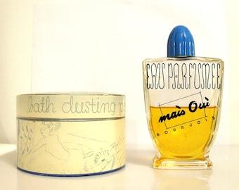 Vintage 1940s Mais Oui by Bourjois 4 oz Eau Parfumee &  6 oz Bath Dusting Powder Gift Set PERFUME