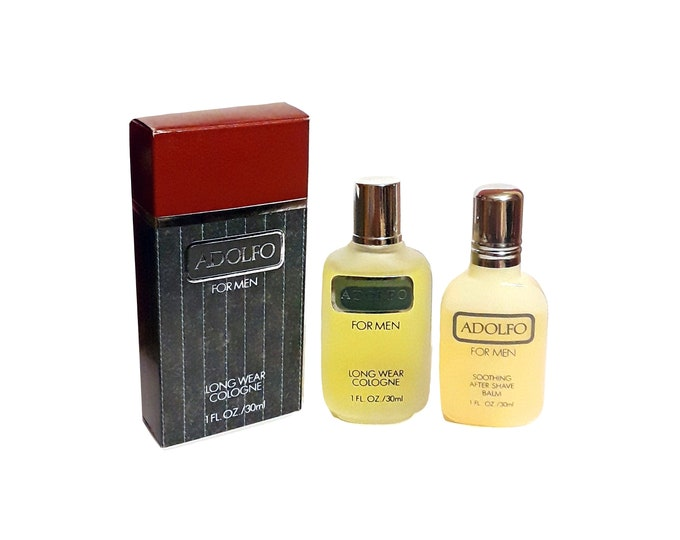 Vintage 1980s Adolfo for Men by Adolfo Frances Denney 1 oz Cologne and 1 oz After Shave Balm Splash Discontinued Perfume
