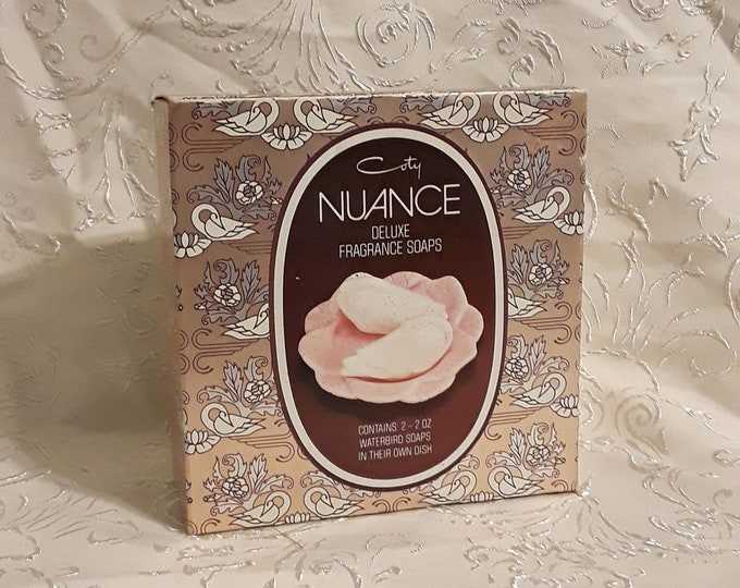 Vintage Nuance by Coty Figural Bird Perfumed Soaps and Ceramic Soap Dish 1970s Gift Set