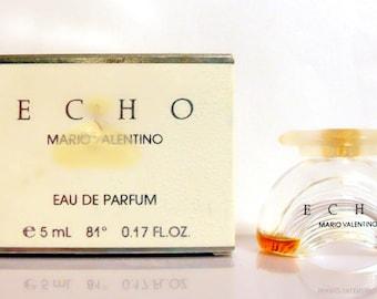 Vintage 1980s Echo by Mario Valentino 0.17 oz Eau de Parfum Mini Miniature and Box PERFUME