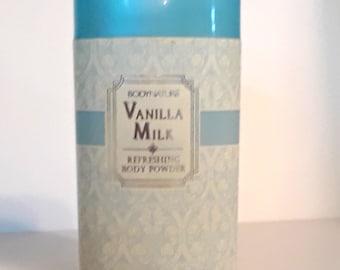 Vintage 1990s Vanilla Milk by Body Nature 1.8 oz Perfumed Talcum Powder Shaker Canister