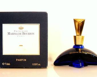Vintage 1990s Marina de Bourbon by Princesse Marina de Bourbon 0.25 oz Parfum  Miniature Mini Bottle and Box PERFUME