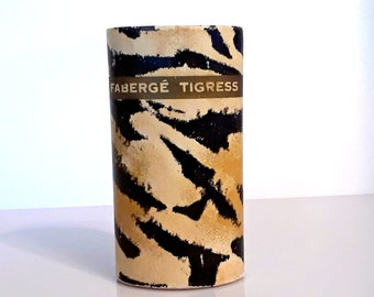 Vintage 1950s Tigress by Faberge 2 oz Perfumed Talcum Powder Shaker Canister