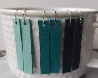 Leather Earrings, Dangle Leather Earrings, Leather Strip  Earrings