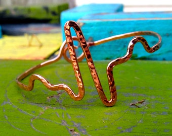 Nurse Heartbeat Bracelet hammered copper, EKG bracelet, ECG Bracelet, nurse bracelet, Heartbeat, sinus Rhythm, nurses