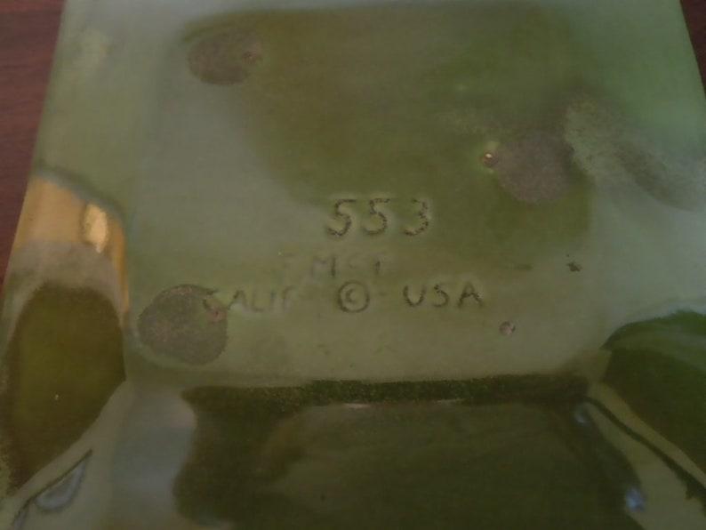 Rare Mid Century Freeman McFarlin Lava Drip Dish Signed Gorgeous Green and Turquoise 1960s