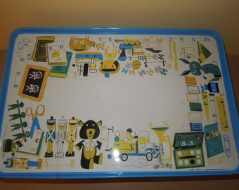 Vintage Childrens Metal Tray Pressman Toy Corp. Home School Learning 1960s