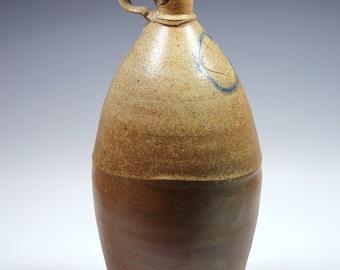 Wood-fired salt glazed bottle by Blair Meerfeld