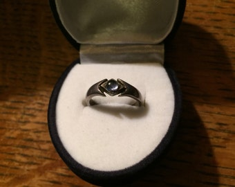 Old Sterling Silver and Amethyst Solitaire Ring