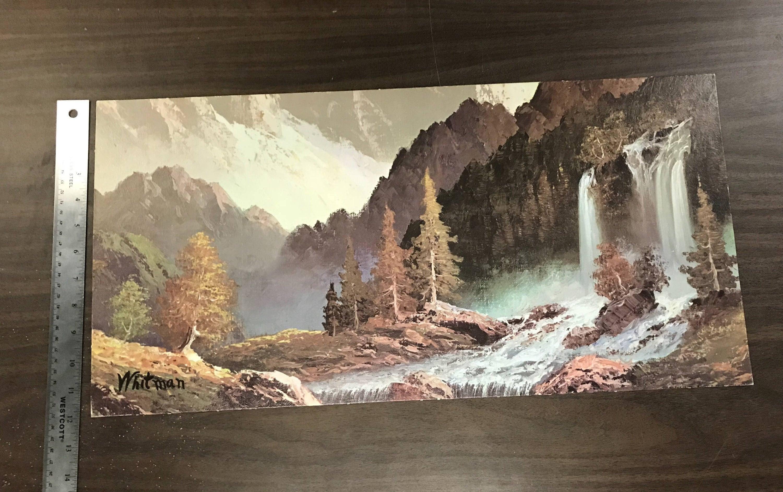 Art print the waterfall by whitman 1950s fine etsy