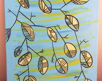 Abstract Leaves- Acrylic on Canvas