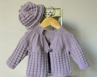 7aca0be4f332d3 KNITTING PATTERN-Textured round yoke baby sweater and matching hat – P046