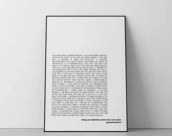 Things You Definitely Need To Hear// Fine Art Print // Inspirational // Motivational // Typography //