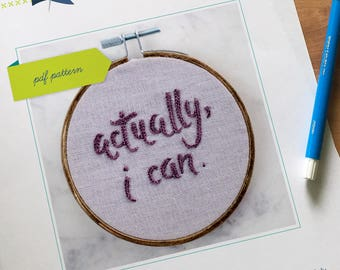 Feminist Hand Embroidery PDF Pattern. DIY Hoop Art. Beginner Embroidery. Word Art. Contemporary Embroidery.