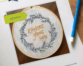 Floral Contemporary Kindness Hand Embroidery PDF Pattern. Modern Embroidery. Beginner Embroidery Pattern. Kindness Grows Here.