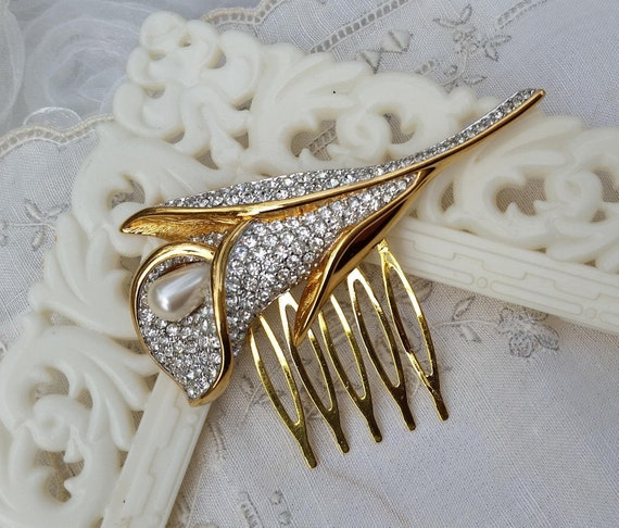 Pearl Crystal Bridal Vintage Hair Comb Art Deco Calla Lilly Etsy
