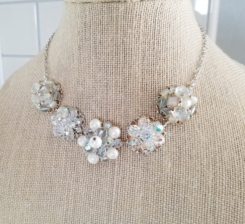VINTAGE EARRING Necklace Bridal Wedding Bridesmaids Gift Retro Mid Century Soft Iridescent White Silver Amazing Sparkle Old Hollywood Pearls