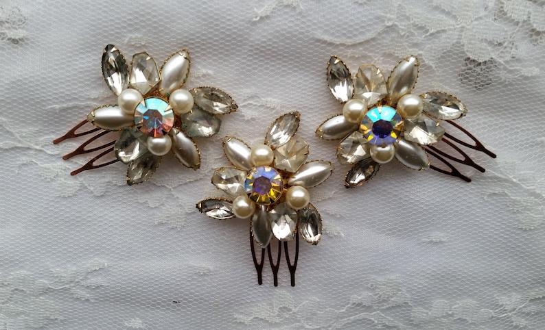 VINTAGE Pearl /& Crystal Bridal Hair Combs Assemblage Set of 1 2 3 Aurora Borealis Rhinestones Classic Bridesmaids Hair Accessories Heirloom
