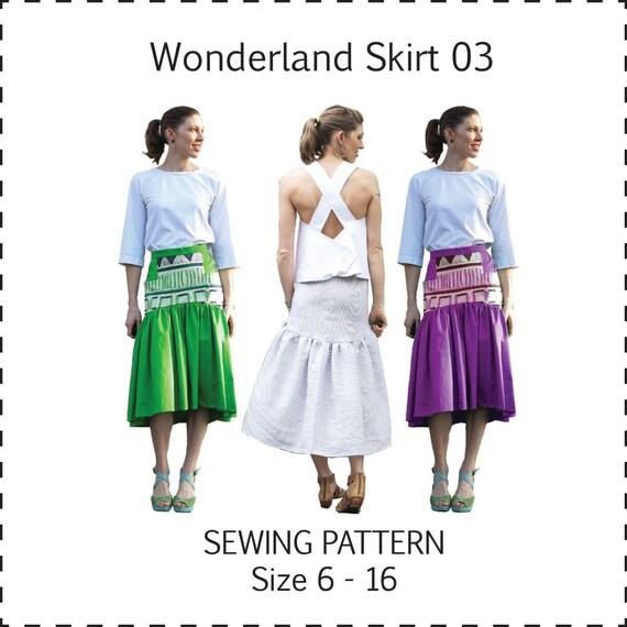 Wonderland Skirt PDF sewing pattern ladies gathered maxi drop | Etsy