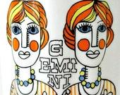 RESERVED // Mid Century Modern Gemini Twins Bone China Mug / Zodiac Horoscope Mug / Royal Windsor England / Pop Art 1960s Swinging London