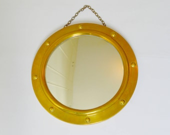 Vintage 1950's Convex Porthole Mirror with Brass Frame and Hanging Chain, Nautical, Ship