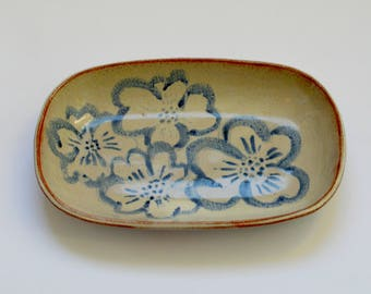 Rustic Studio Pottery Dish with Flower Design