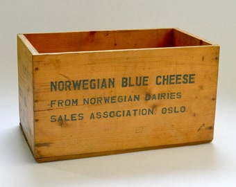 Vintage Norwegian Blue Cheese Wooden Advertising Crate, Box