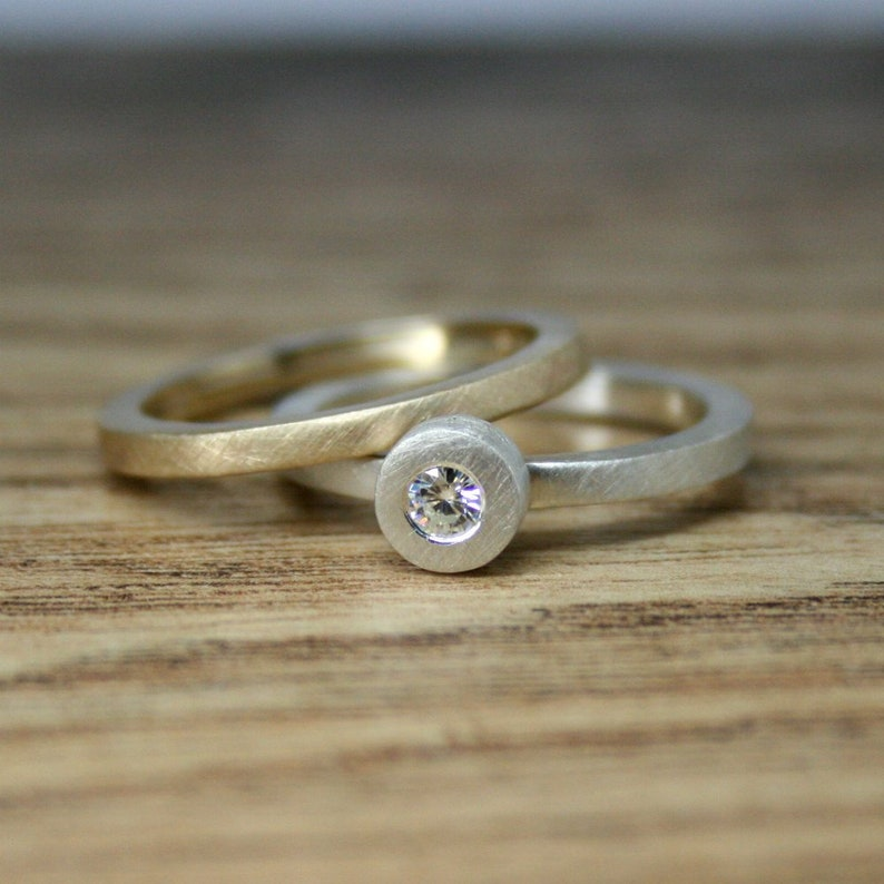 6334e243225c4 Moissanite Engagement Ring, Alternative Diamond, Silver, Ethical  Engagement, Solitaire, Eco Wedding, Made To Order