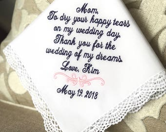 Wedding Handkerchief For Mom-Wedding Hankerchief-Wedding Hanky For Mom-Mother of the Bride-Wedding Hankies-Gift for Mom-WEDDING of MY DREAMS