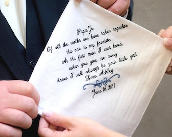 Embroidered and Personalized Handkerchief for Dad, Father of the Bride Gift, Gift from daughter FOB 1