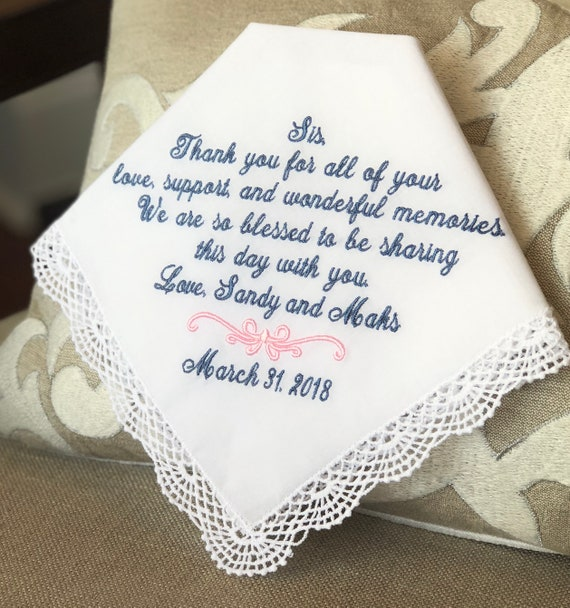 Wedding Gift Handkerchief Thank You For Your Love Etsy