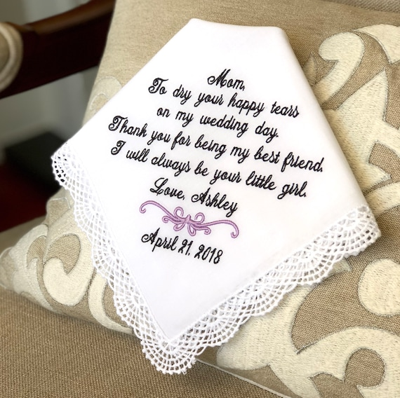 Wedding Handkerchief For Mom Handkerchief Mother Of The Bride Etsy