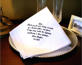 Father of The Groom Handkerchief -Hankie - Hanky - Thank you for your Loving Example  - Wedding - Groom to give Father - Gift for Grooms Dad