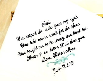 Father of the Bride Gift - Embroidered Hankies, Hankerchief, Handkerchief, Hanky - WIPED THE TEARS - Gift for Father of the Bride -Wedding