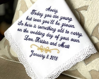 Junior Bridesmaid - Flower Girl  Handkerchief - Today YOU ARE YOUNG - Something to Carry on your Wedding Day  -  Hankie - Hanky  Hankerchief
