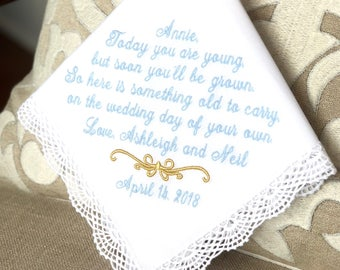 Flower Girl Gift-Handkerchief-Gift-Hankerchief-Hanky-Hankies-Embroidered-Wedding-Weddings-Gift for Flower Girls-Personalized- TODAY YOU ARE