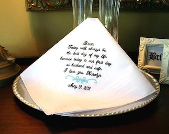 Mr and Mrs - Husband Gift-Groom-Wedding Gift for Groom-Gift from Bride-Hankerchief-handkerchief-hanky-personalized-weddings wedding-BEST DAY