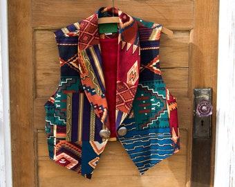 Lazy Sky - southwestern print vest - Wraps vest - concho button vest western vest - colorful print vest - sassy 90s vest - desert boho vest