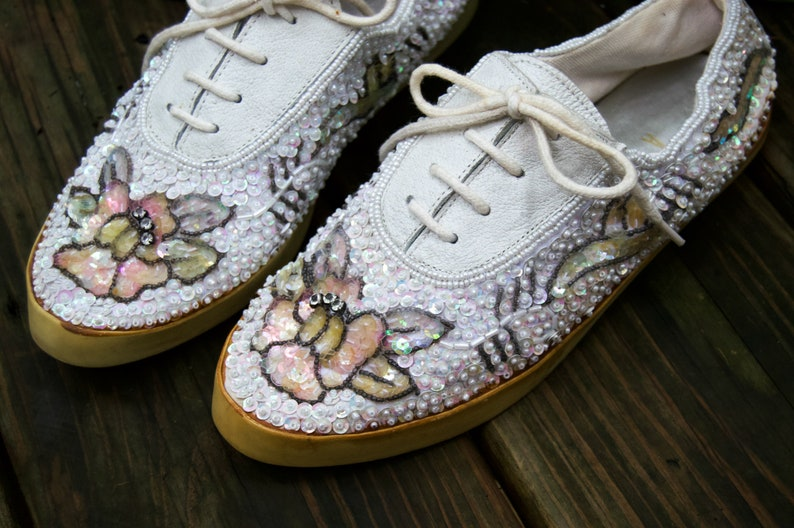 2f567d11d63b2 Twinkle Toes - sequin tennis shoes - sparkly tennis shoes - beaded flower  tennis shoes - white lace up tennis shoes - floral tennis sheos