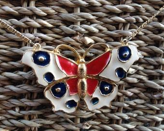 Ameriposa - collana farfalla rossa bianca e blu - 60s collana farfalla americana farfalla - collana farfalla smalto - quarto di luglio
