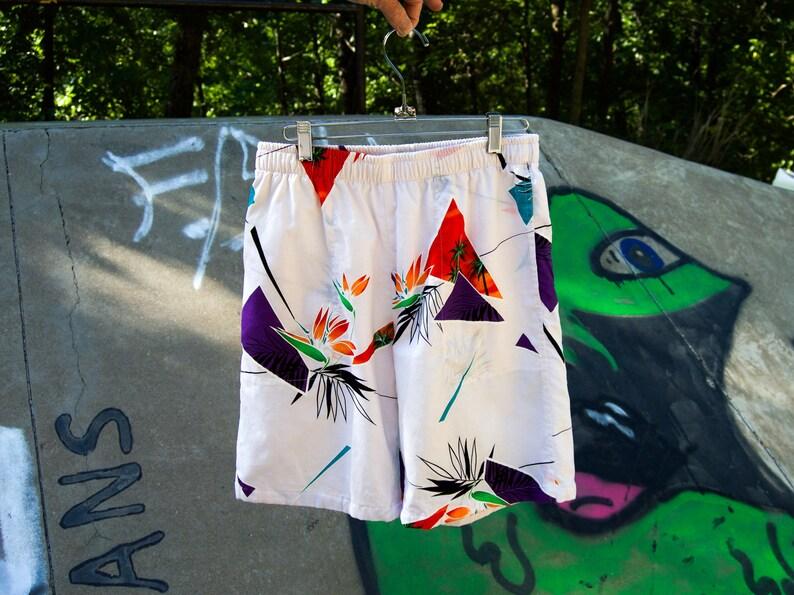 e39de3579 North Shore white Hawaiian shorts bird of paradise shorts | Etsy