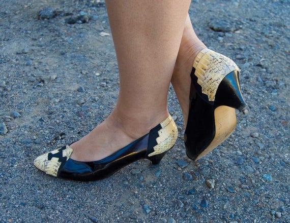 Rattler - black patent leather snakeskin heels - b