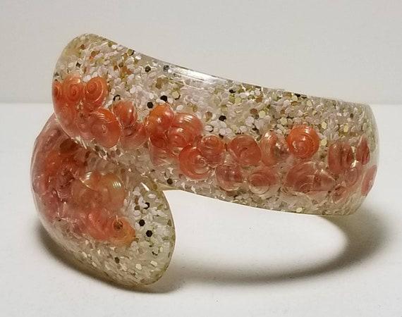 Lucite Seashell Clamper Hinged Bangle Bracelet Tr… - image 7