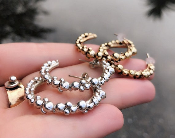 Bubble Brass and Silver Hoop Earrings