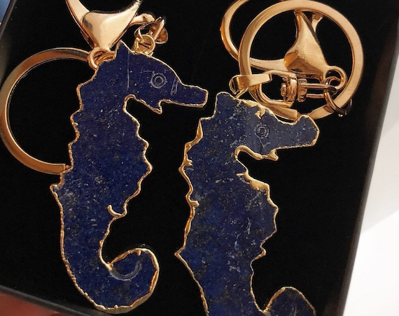 Lapis Seahorse Keychain, gifts for her, beach