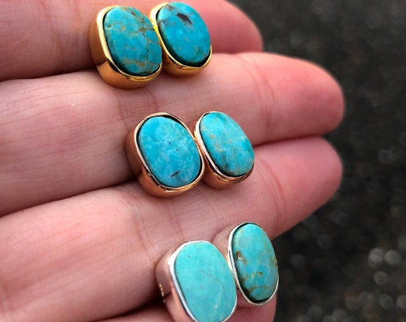 Genuine Turquoise Stud Earrings, December Birthstone Jewelry, Rose Gold, Silver and Gold Stud Earrings