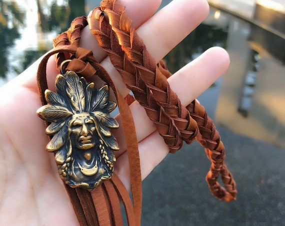 Native American leather tassel necklace