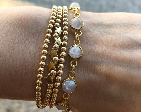 Gold Star bracelet and moonstone bracelet