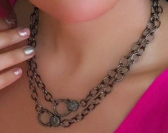 Rhodium chain necklace with diamond paved lonster clasp